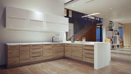 interno moderno della cucina domestica. Concetto di design rendering 3D