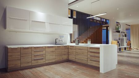 wnętrze nowoczesnej kuchni domowej. Koncepcja projektowania renderowania 3d