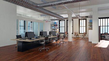 Concept de design d'intérieur de bureau moderne. conception de rendu 3D