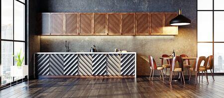 modern kitchen interior design concept. 3d rendering idea.