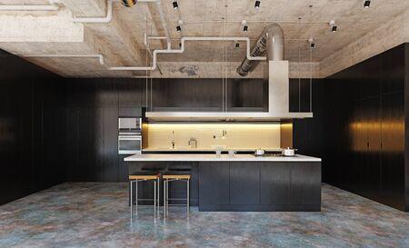 modern domestic kitchen interior. 3d rendering design concept Standard-Bild