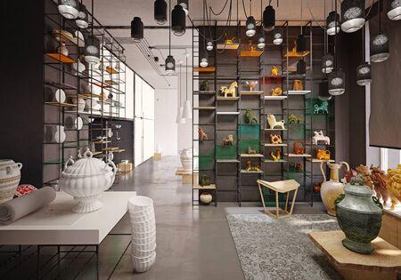 antique shop interior. 3d rendering design concept Standard-Bild