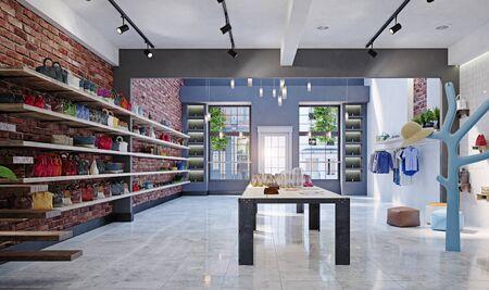 modern boutique interior design concept. 3d rendering