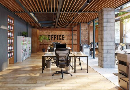 contemporary loft office interior. 3d rendering design concept Banque d'images - 140989975