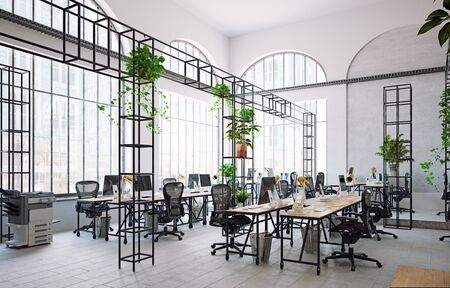 contemporary office interior. 3d rendering design concept Banque d'images - 140990012