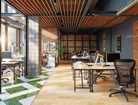 contemporary loft office interior. 3d rendering design concept Banque d'images - 140989789