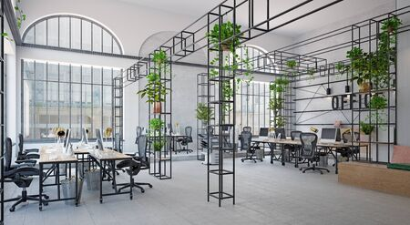contemporary office interior. 3d rendering design concept Banque d'images - 140989484