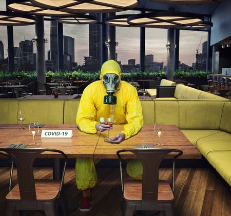 Gas mask man in the cafe interior. Photo and media mixed  concept