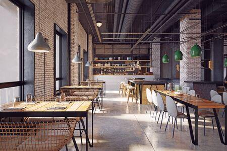 modern restaurant interior design concept. 3d rendering