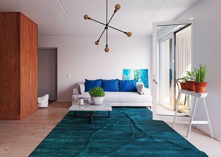 modern living interior, 3d rendering decor concept design Standard-Bild