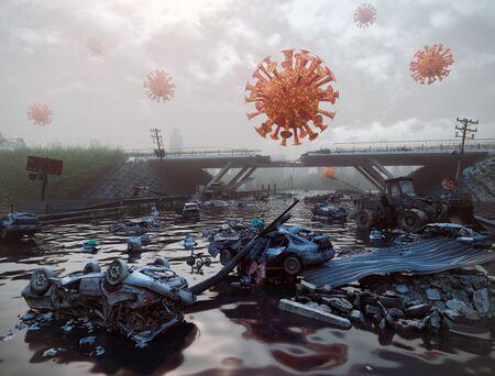 Virus COVID-19 attack concept.