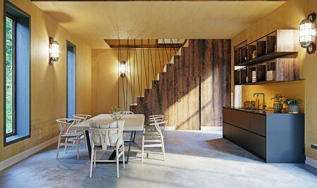 Modern home interior of a dinning room Standard-Bild
