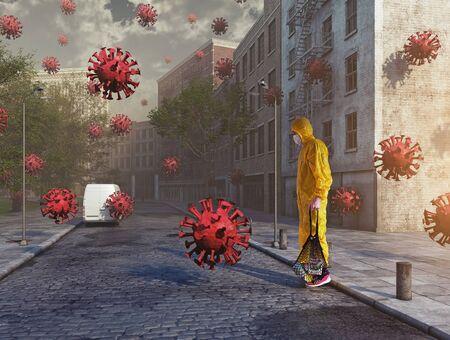 Virus  COVID-19 attack concept. 3d rendering