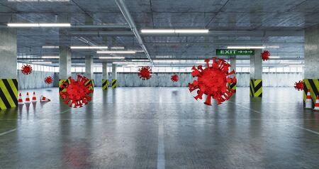 Virus  COVID -19 parking  attack concept. 3d rendering Standard-Bild