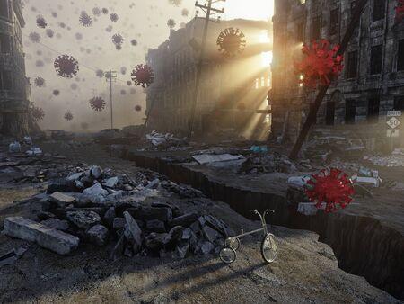 Virus  COVID -19 attack concept. 3d rendering Standard-Bild