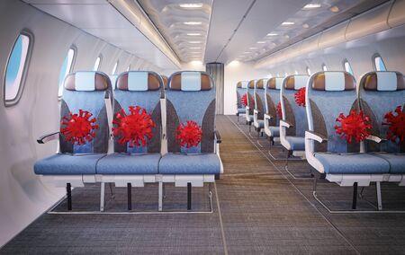 Covid 19 airplane passenger danger sign concept. 3d rendering