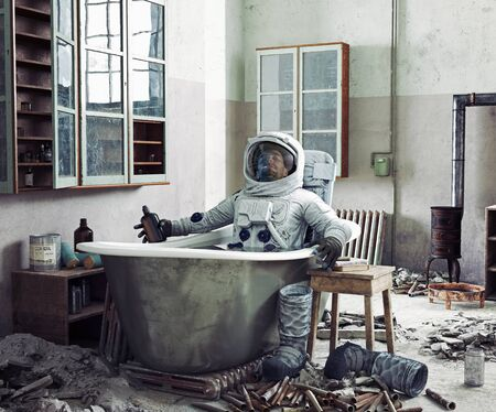 astronaut resting at home in the bathtub. Photo and media mixed illustration 免版税图像