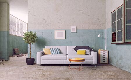 sofa in the old room. 3d rendering concept