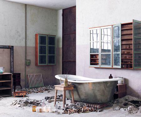 grunge style bathroom interior. 3d rendering concept idea