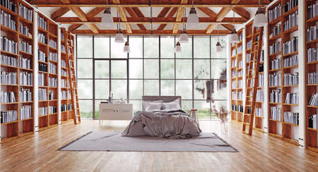 the bedroom with great library. 3d render interior