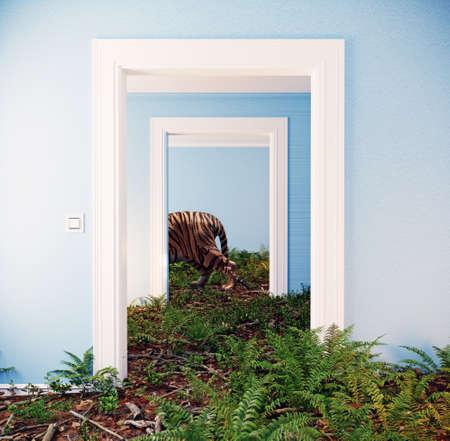deep forest floor in the room interior. 3d conceptual design illustration 免版税图像