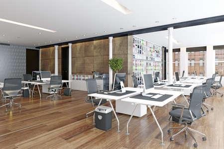 contemporary loft office interior. 3d rendering design concept