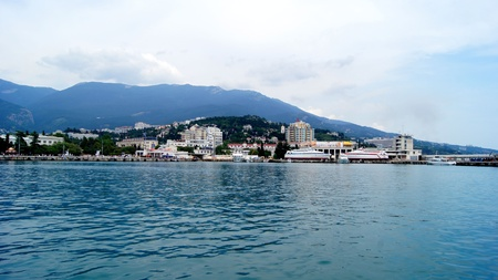 Magnificent kind from the sea on a city which is in a bay photo