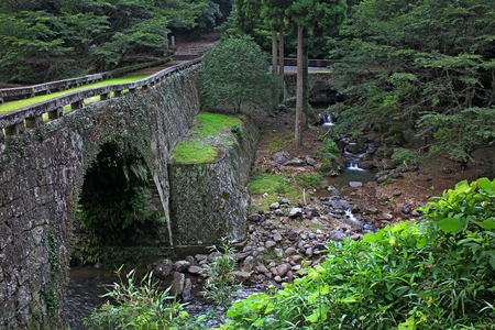 a meeting with a view to marriage: old stone bridge inside romantic green forest Stock Photo