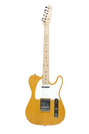 Standard natural color telecaster electric guitar isolated on white photo