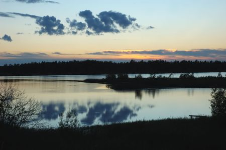 Sunset on forest lake, north Russia Stock Photo - 2687606