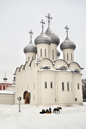 View of Sophia cathedral in Vologda, winter time, Russia