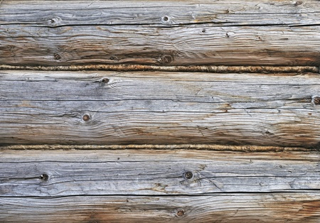 Fragment of old wooden house wall Standard-Bild