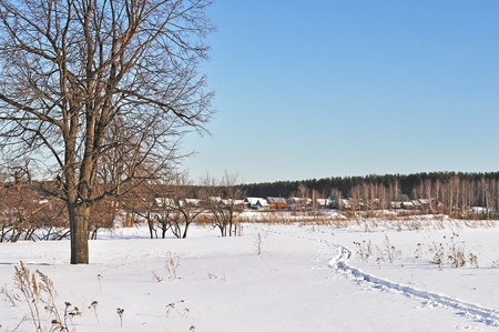 Outskirts of russian village in winter time on sunny day photo