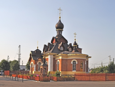 Seraph church in Alexandrov town, near railway station, Russia Stock Photo