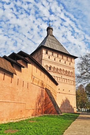 Proezdnaya tower and wall of medieval Spaso-Evfimevsky Monastery in Suzdal. The Golden Ring of Russia photo