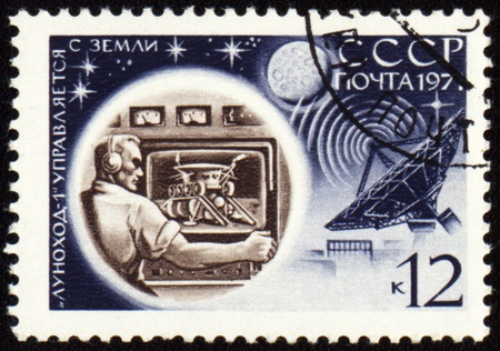 USSR - CIRCA 1971: stamp printed in USSR shows Control Center of soviet moon machine Lunokhod-1, circa 1971