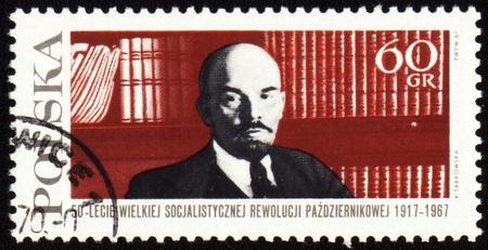 POLAND - CIRCA 1967: A stamp printed in Poland shows Lenin on bookshelf background, circa 1967 Editorial
