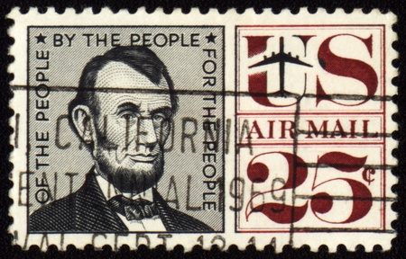 ideological: USA - CIRCA 1959: A stamp printed in USA shows president Abraham Lincoln (1809-1865), circa 1959 Stock Photo