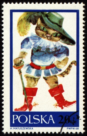 puss: POLAND - CIRCA 1968: a stamp printed in Poland, shows drawing from tale Puss in Boots, circa 1968