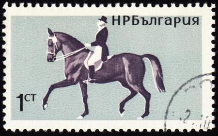 cancelled stamp: BULGARIA - CIRCA 1965: stamp printed in Bulgaria, shows equestrian sport, dressage, circa 1965