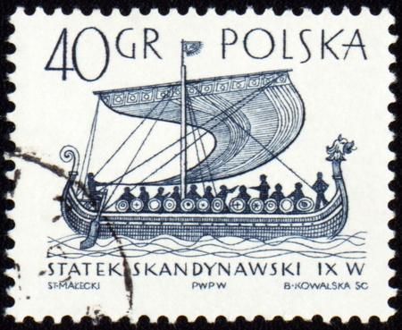 POLAND - CIRCA 1963: stamp printed in Poland shows ancient Scandinavian ship, circa 1963 photo