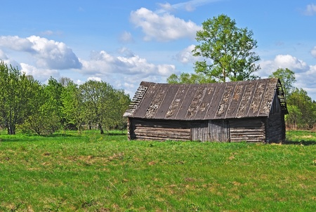 Country landscape with old big wooden shed Stock Photo - 9614989