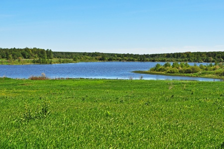 Country landscape with lake and meadow, Russia Stock Photo - 9674780