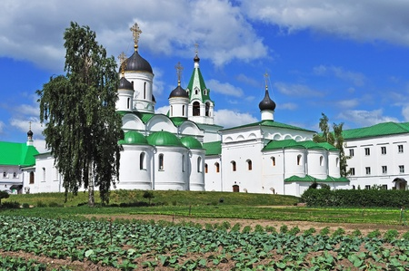 spassky: Medieval Spassky cathedral and vegetable garden in Spassky monastery of Murom city, Vladimir region, Russia Stock Photo