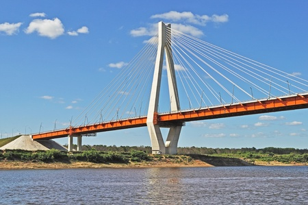 Tower of new cable-braced bridge across the Oka river near Murom, Russia