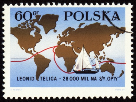 yachtsman: POLAND - CIRCA 1969: stamp printed in Poland, shows map with route of world tour of polish yachtsman Leonid Teliga, circa 1969