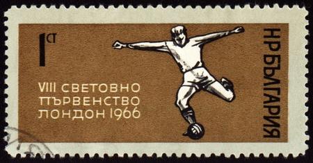 BULGARIA - CIRCA 1966: A stamp printed in Bulgaria shows World Football Championship in London, circa 1966 Stock Photo