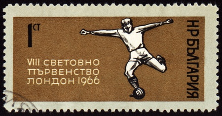 BULGARIA - CIRCA 1966: A stamp printed in Bulgaria shows World Football Championship in London, circa 1966 photo