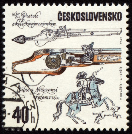 czechoslovakia: CZECHOSLOVAKIA - CIRCA 1969: stamp printed in Czechoslovakia shows ancient pistol, series, circa 1969