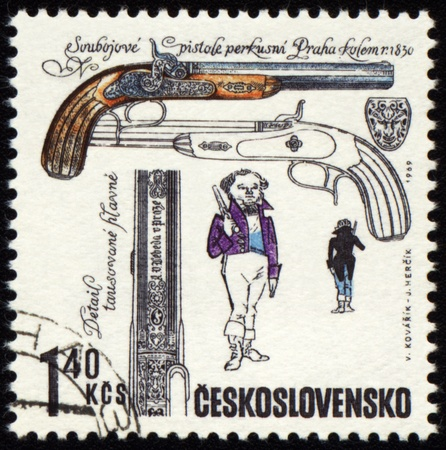 jackboots: CZECHOSLOVAKIA - CIRCA 1969: stamp printed in Czechoslovakia shows ancient pistol, series, circa 1969
